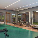 Perspectiva ilustrada do espaço fitness*